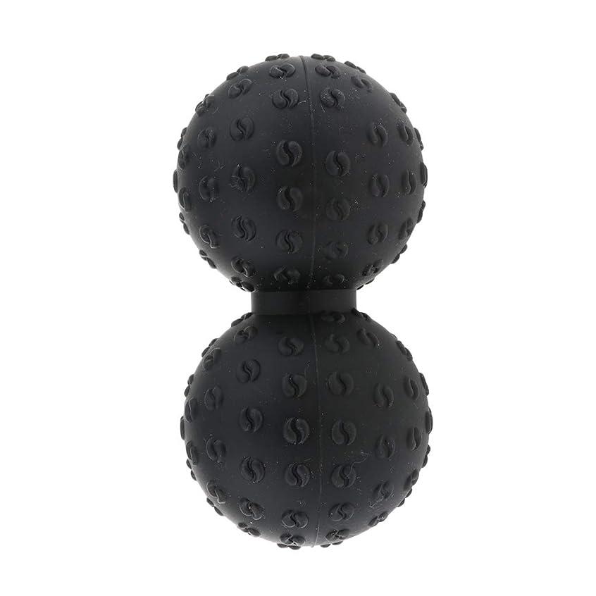 色合い元気リーンFLAMEER 全6色 マッサージボール 指圧ボール ピーナッツ ダブルラクロスマッサージボール ツボ押しグッズ - ブラック, 説明のとおり