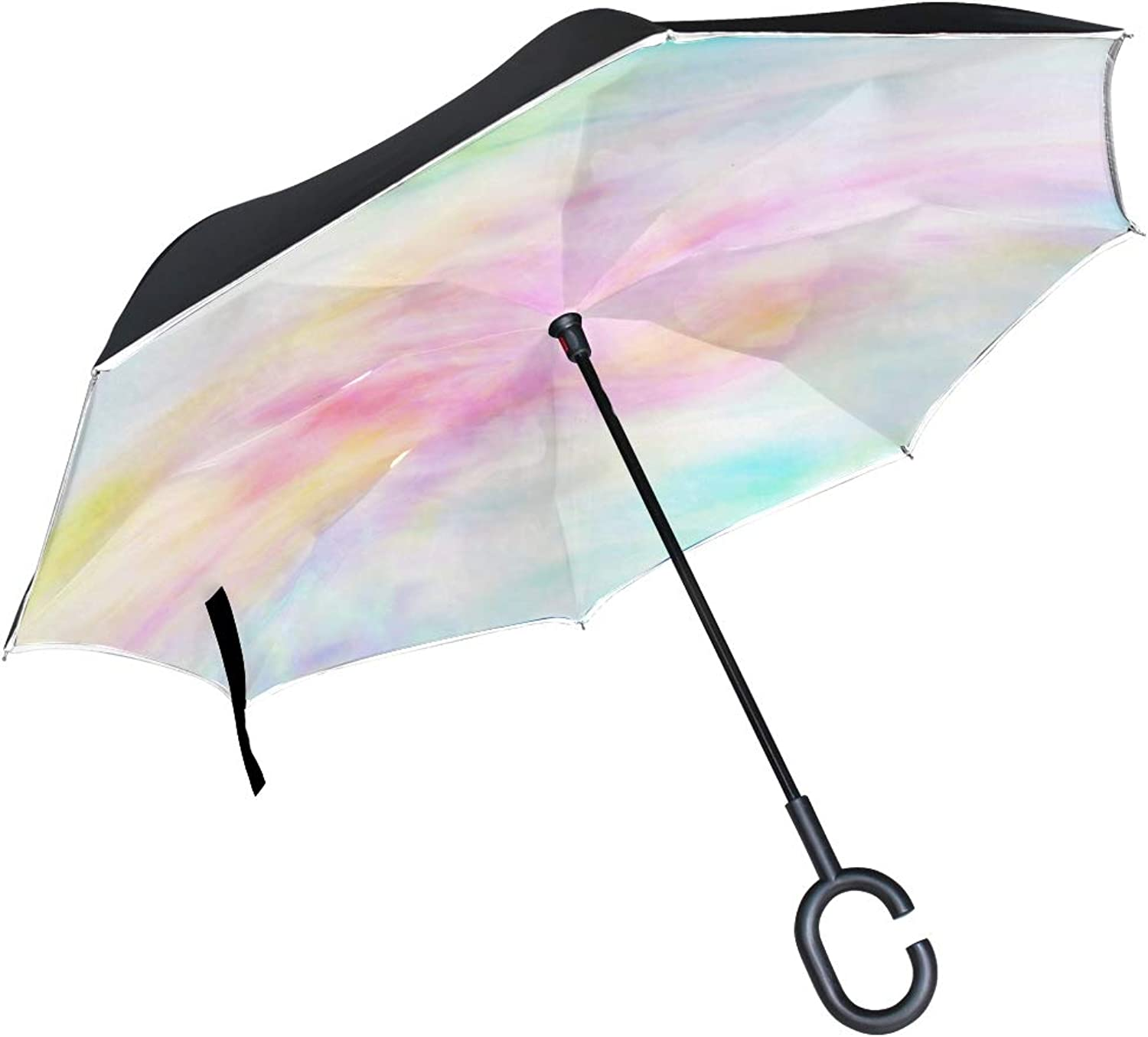 Double Layer Ingreened Abstract Silky in Pink and bluee Pastel Umbrellas Reverse Folding Umbrella Windproof Uv Predection Big Straight Umbrella for Car Rain Outdoor with CShaped Handle