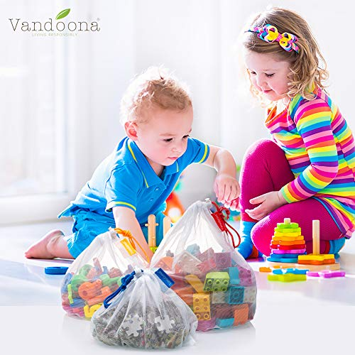 VANDOONA Toy Storage & Organization Mesh Bags Set of 15 See-Through Washable Mesh Bags & Color Coded Drawstrings by Size S, M, L. Playroom Organization, Baby Toys ( 5 Small, 5 Medium, 5 Large)