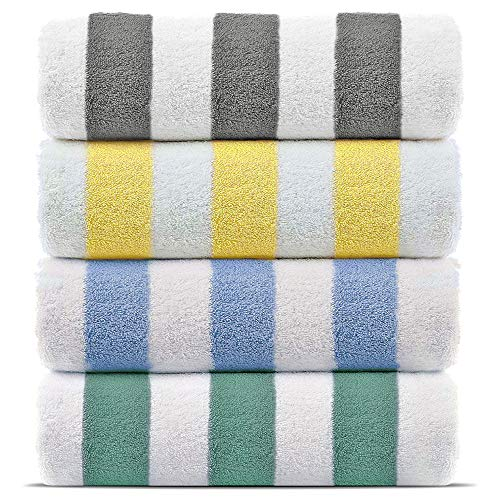 Premium Quality 100% Turkish Cotton Cabana Thick Stripe Pool Beach Towels, Eco-Friendly (4 Pack, Multicolor)