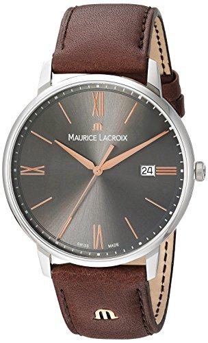 Maurice Lacroix Herren Analog Quarz Uhr mit Leder Armband EL1118-SS001-311-1