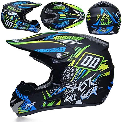 Cascos De Motocross para Moto, Guantes Y Gafas De Sol. D.T.T Quad Bike ATV Estándar para Niños,S
