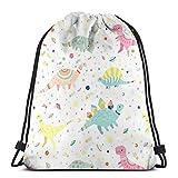Yuanmeiju Dinosaur Pattern Shoulder Bolsa con cordón Backpack String Bags School Rucksack Gym Sport Bag Lightweight