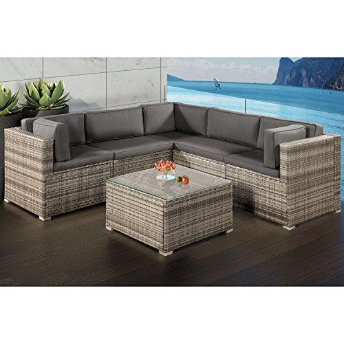 ArtLife Polyrattan Lounge Sitzgruppe Nassau beige-grau mit Bezügen in Dunkelgrau - 2