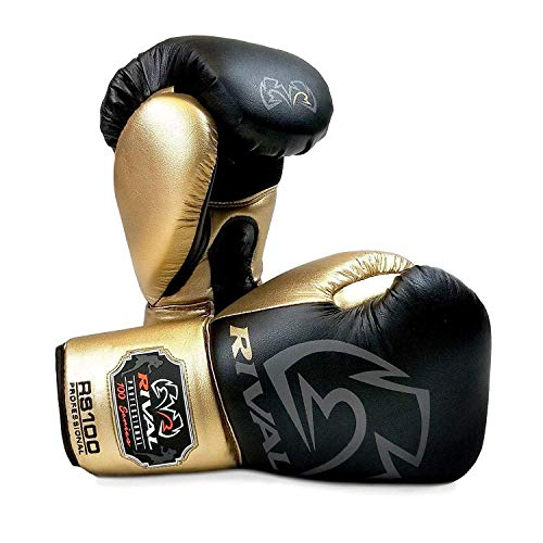 Rival Boxing Handschuhe RS100 Schwarz Gold Training Professionell - Schwarz, Gold, 14oz