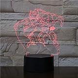 Lámpara 3D El Anime japonés Dragonball Guillen cambio de color Decoración en la lámpara de luz nocturna Led de noche