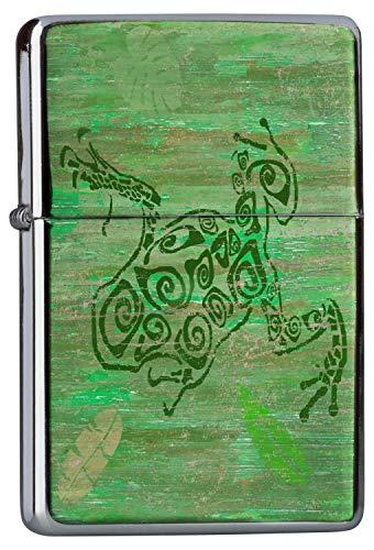 LEotiE SINCE 2004 Chrom Sturm Feuerzeug Benzinfeuerzeug aus Metall Aufladbar Winddicht für Küche Grill Zigaretten Kerzen Bedruckt Fun Frosch Zeichnung