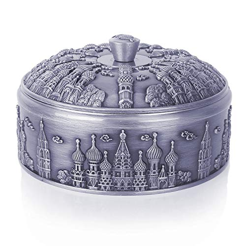 Windproof Smokeless Ashtray with Lid for Indoor and Outdoor, Vintage Cigar Ashtray for Cigarettes, Metal Portable Decorative Ashtray for Home Office Decoration Gift for Women Men(Pewter Castle)