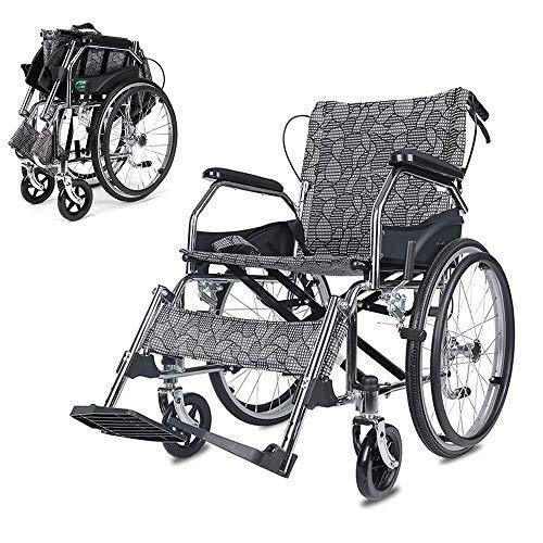 Rollstuhl Faltrollstuhl Leichter Rollstuhl mit Selbstantrieb- Rollstuhl Klapp Aluminium Rollstuhl, leicht und Faltrahmen Rollstuhl mit Sicherheitsgurt, portable Transitverkehr Stuhl, herausnehmbar Fuß