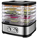 OSTBA Food Dehydrator, Dehydrator for Food and Jerky, Fruits, Herbs, Veggies, Temperature Control Electric Food Dryer Machine, 5 BPA-Free Trays Dishwasher Safe, 240W, Recipe Book Included