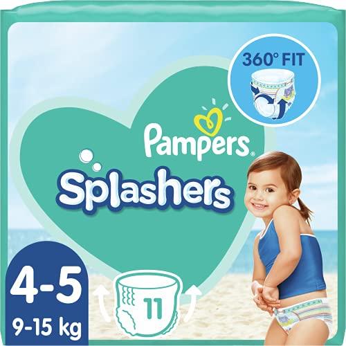 Pampers Couches-Culottes de Bain Jetables Splashers Taille 4-5 (9-15kgs) pour une Protection Optimale dans l'Eau, 11 Couches