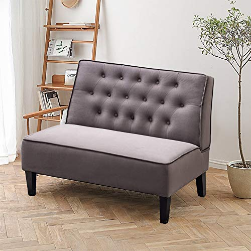Alunaune Upholstered Settee Loveseat Bench for Living Room Armless Bench Sofa Couch Tufted Button Bedroom Dining Room Settee Bench-Light Grey