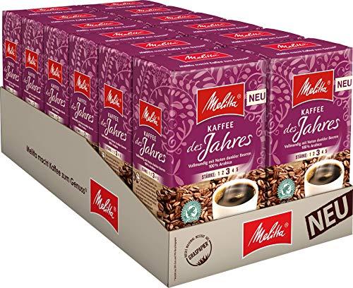 Melitta Gemahlener Röstkaffee, Filterkaffee, 100% Arabica, Kaffee des Jahres 2021, fruchtig mit Noten dunkler Beeren, 12 x 500 g