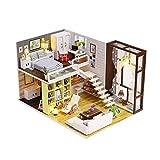 WLDSW Casa de muñecas Bricolaje Mini Kit de la habitación- Modelo Toys Hecho a Mano Muebles de Madera Juguetes Regalos Miniatura de Madera para niños Bricolaje Kits de la casa de muñecas (Color : 02)