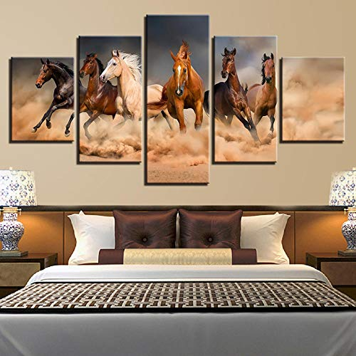 Print Vijf Panelen Op Canvasdecoratief Schilderij Muurschildering Hangende Foto Paard Dier 5 Puzzel