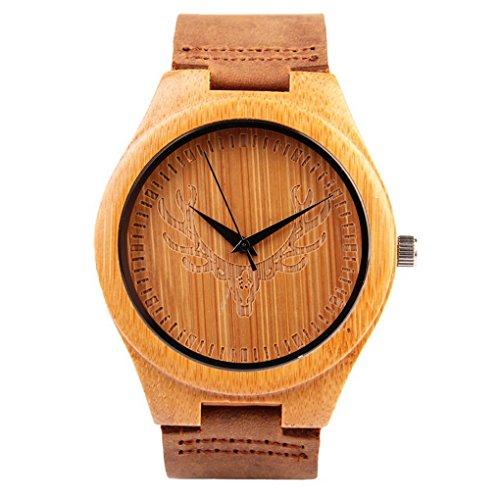 Orologio in legno di bambù con cinturino in vera pelle quarzo analogico