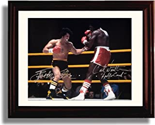 Framed Slyvester Stallone and Carl Weathers Autograph Replica Print - Rocky (Landscape)