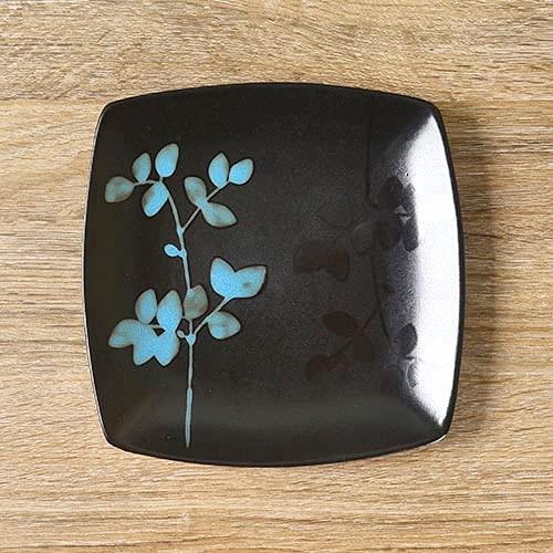 Vajilla Cuencos Ensaladeras Vajilla de cerámica de 8.5 pulgadas plato plano pintado a mano en blanco y negro plato hondo bistec de frutas plato cuadrado
