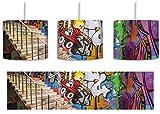 Coloured Streetart Graffiti inkl. Lampenfassung E27, Lampe mit Motivdruck, Deckenlampe, Hängelampe, Pendelleuchte - Durchmesser 30cm - Dekoration mit Licht