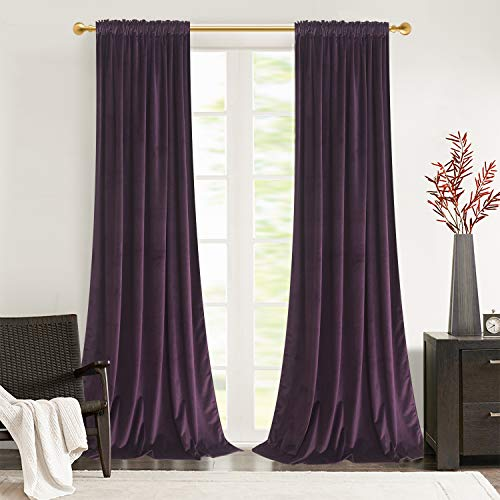 Roslynwood Home Office Velvet Curtains Thermal Insulated Luxury Energy Saving with Rod Pocket & Back Tab Top Light Blocking Drapery Drapes for Office Room 52W x 84L Inch Deep Purple