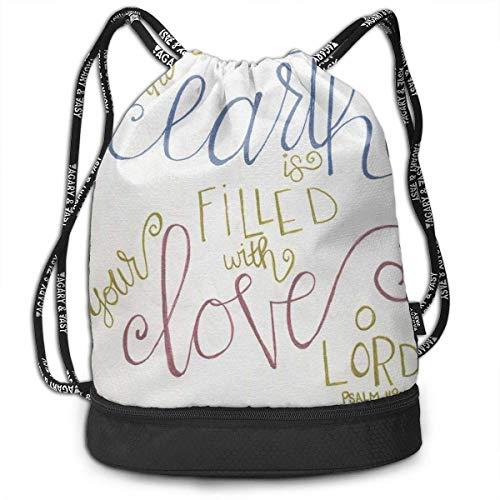 FedoraSale Filled with Love Print Unisex Drawstring Bag Stylish Lightweight Sackpack Sport Gym Bundle Backpack One Size