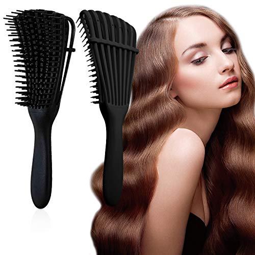J TOHLO Cepillo desenredante, Cepillo desenredante para cabello afro, peine para desenredar para cabello afroamericano 3a 4c, Mojado, Para Rizado, Grueso, Ondulado, (Negro + Negro)