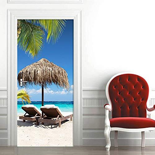 biejuyige Etiqueta De La Puerta De Vinilo Autoadhesivo Playa Sol Árbol De Coco Paisaje Etiqueta De La Pared Mural Impermeable Papel Tapiz De Bricolaje Etiqueta para El Hogar A567(90X200Cm)