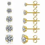 5 Pairs Stud Earrings Set, Hypoallergenic Cubic Zirconia 316L Earrings Stainless Steel CZ Earrings 3-8mm (Gold)