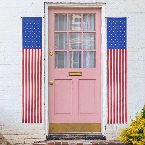 Filhome Patriotic Decorations, 2PCS 4th of July Decorations Porch Sign Home & Outdoor, Hanging American Flag Banners for Labor Day, Memorial Day, Independence Day, Veterans Day
