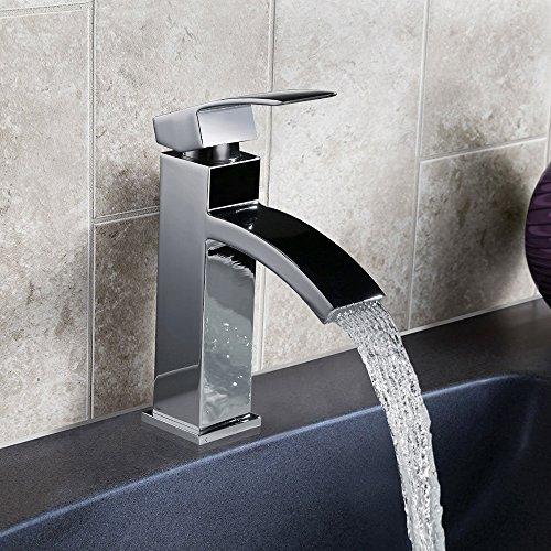Homelody – Einhebel-Waschtischarmatur, ohne Ablaufgarnitur, Wasserfallarmatur, Chrom - 2