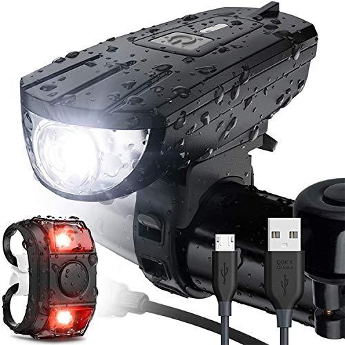 TANTAO LED Fahrradleuchte Set, USB-Fahrradleuchten-Set, 3 Modi, wasserdichte Fahrrad-Vorder- und Rücklichter, superhelle LED-Fahrrad-Vorder- und Rücklichter, für alle Fahrräder geeignet