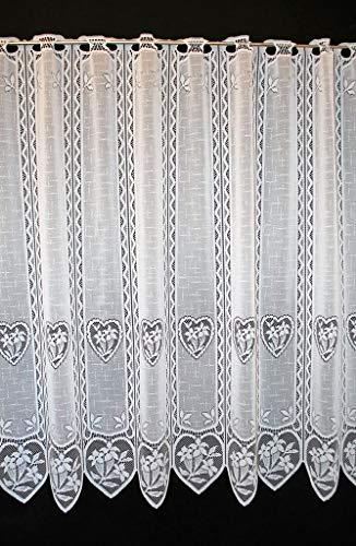 Tenda della finestra Enzian nel cuore altezza 90 cm | Può scegliere la larghezza in segmenti da 11 cm, come vuole | Colore: Bianco | Tendine cucina