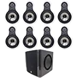 MTX Audio TF625W Bundle - 4 Pairs of MTX Audio TF625 6.5 Inch 2-Way 100W RMS 8-Ohm in-Wall Speaker, White with Niles SW8 8' Compact Powered Home Theater Subwoofer
