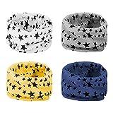 ANSUG 4 Piezas Bufanda de los niños, Suave calentador de cuello de algodón bufanda de Invierno O Ring Infinity Loop Pañuelo para bebé niños niñas - 0-8 años