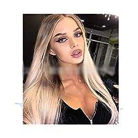 Xingfuzhijia 女性のためのブロンドのかつら人工毛、暗い根付いたオンブルブロンドロングストレートかつらナチュラル (色 : Blonde)
