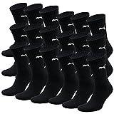 Puma unisex Crew Calcetines Calcetines deportivos con suela de rizo 18 Paquete (39-42, Negro)