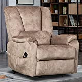 CANMOV Power Lift Chair Recliners for Elderly, Electric Recliner Antiskid Fabric Sofa Living Room Chair with Overstuffed Pillow Design, Camel