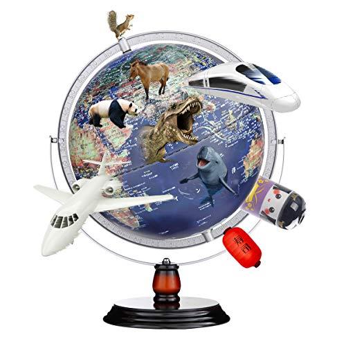 地球儀 子供 AR しゃべる地球儀 球径30cm 日本語 3Dで学べる LEDライト付き 3WAY 知育玩具 ベッドサイドランプ 地勢タイプ 360°回転可能 真珠フィルム 雰囲気が良い 防水性 新入学のお祝いに プレゼント (250-Blue)
