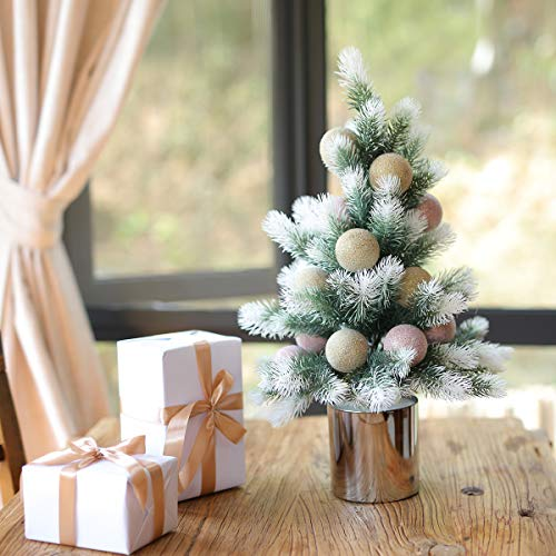 """PARTY JOY 23"""" Artificial Mini Christmas Tree Small Pine Tree Tiny Christmas Tree Tabletop Includes Pots Christmas Ball for Holiday Crafts (White-Pink Champagne Gold)"""