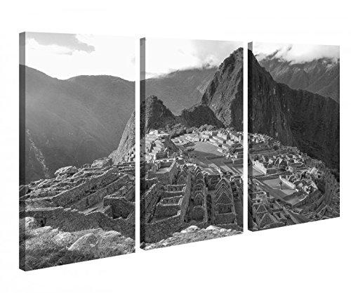 Leinwandbild 3 Tlg Machu Picchu Ruinenstadt Peru Inka Schwarz weiß Leinwand Bild Bilder Holz gerahmt 9U432, 3 tlg BxH:90x60cm (3Stk 30x 60cm)