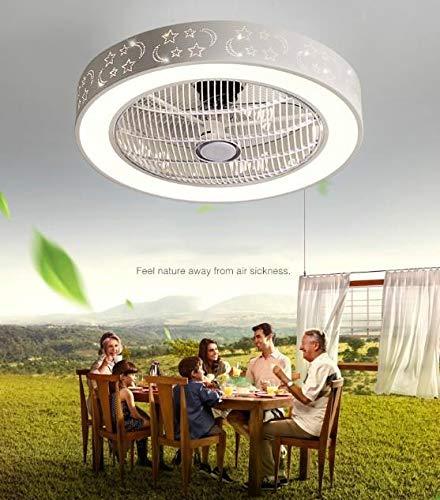 Cratone Deckenventilator mit Beleuchtung, LED Deckenventilator mit Licht Deckenventilator klein Schlafzimmer 36W Moderne LED-Deckenleuchte Wohnzimmer Lampe mit 3 Lichtfarben Dimmbar