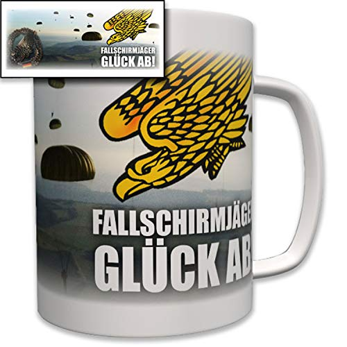 Fallschirmjäger Glück ab! Barettabzeichen Fallschirm Fallschirmsprung Bundeswehr Bw Wappen Abzeichen Emblem - Tasse Becher Kaffee #6980