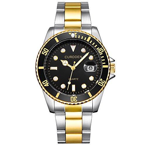 Adamoka Herren Uhr Edelstahl Quartz Analog mit Stainless Steel Armband 6582