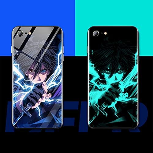 ZMMZ Naruto - Funda luminosa para iPhone 11 Pro Max, ultra brillante vidrio templado contraportada suave TPU parachoques a prueba de golpes B- 11ProMax