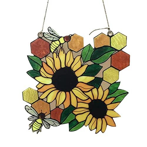 wastreake Pingente de girassol, lindo pingente de enfeite de abelha, pingente criativo para artesanato adequado para porta da frente, janela, decoração de parede