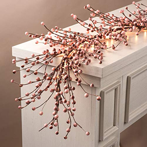 LampLust Pip Berry Garland Decoration - 6 Ft, Blush Pink Faux Berries on Rustic Grapevine Base, 100 White LED Lights, Battery Operated, 6 Hour Timer, for Christmas, Wedding, or Girl's Bedroom