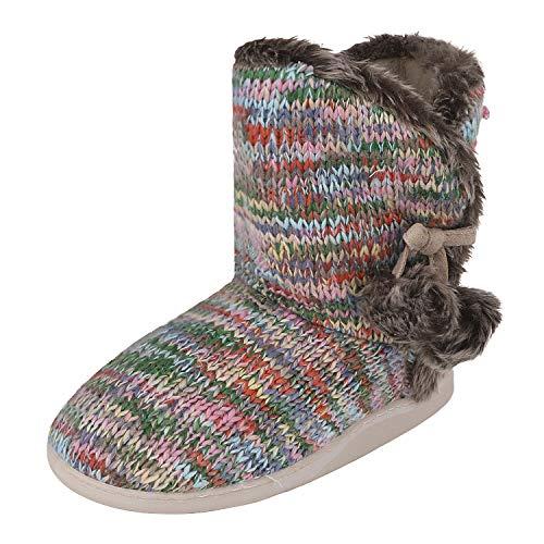 JINTN Damen Leopardenprint Stiefel Pantoffeln Warme Stiefeletten Schlupfstiefel Winter Baumwolle Hüttenschuhe Weiche Leicht Rutschfeste Slipprs, 38/39 EU, Bunt
