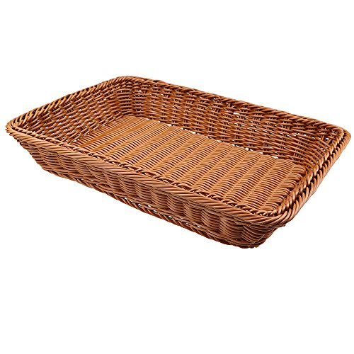 "Bread Baskets, WCIC Rattan Rectangle Food Fruit Baskets Handmade Baskets Kitchen Vegetables Bins Bathroom Storage Container 15.75""X11.81""X3.15"""