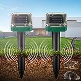 Ahuyentador de Topos Solar, Repelente Solar Ultrasónico, Repelente Ultrasónico para Animales, IP65 Repelente Solar, para para jardín Anti Topos, Serpientes, Ratóns, Insectos(2 Pack)