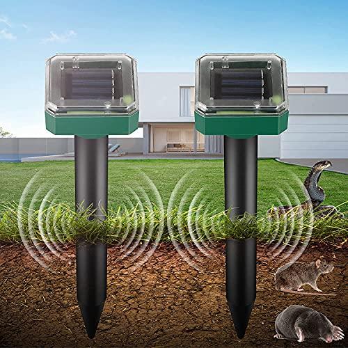 Ahuyentador de Topos Solar, Repelente Solar Ultrasónico, Repelente Ultrasónico para Animales, IP65 Repelente Solar, para para jardín Anti Topos, Serpientes, Ratóns, cucarachas, Insectos(2 Pack)